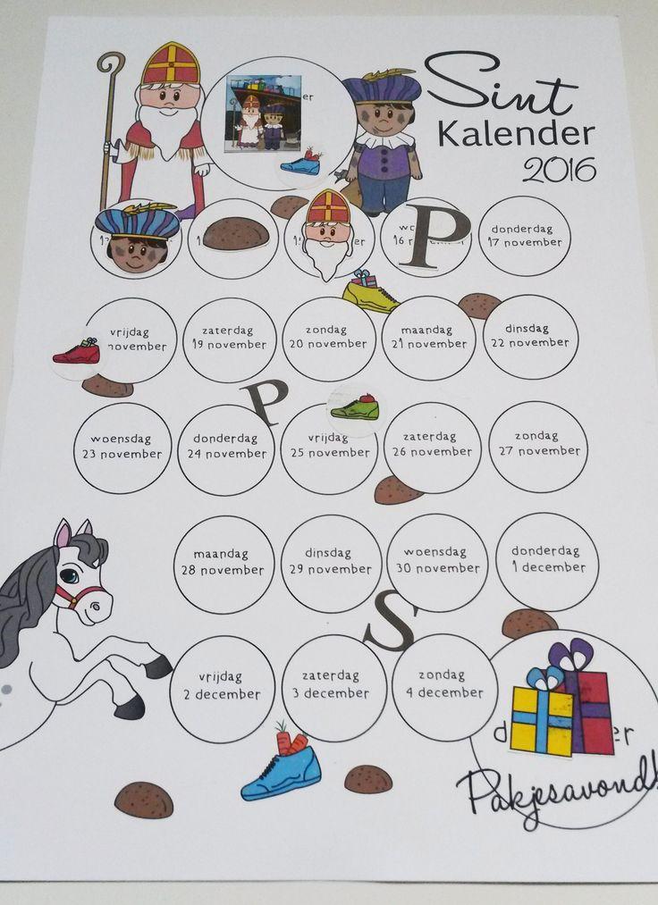 Sint kalender 2016 met stickers om af te tellen naar pakjesavond. Met de schoenstickers kunnen de kids precies zien wanneer ze hun schoen mogen zetten. Inclusief 39 stickers. Door Jenny Illustraties.