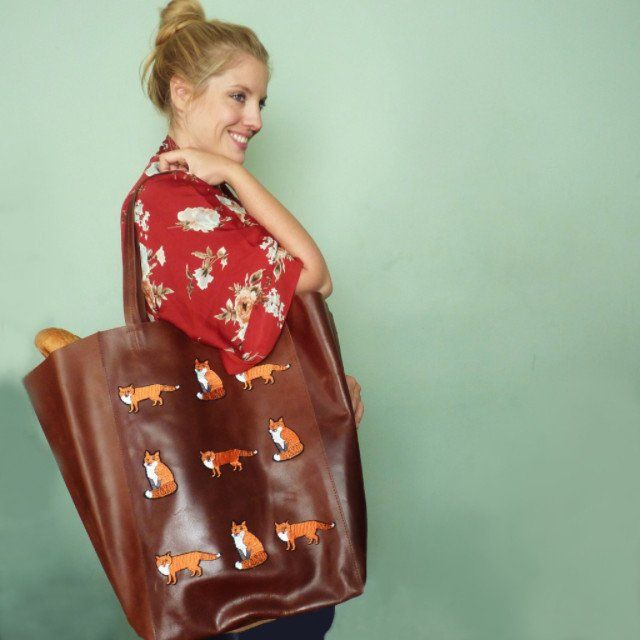 Little Foxes Brown Extra Large Leather Shopper *Limited edition* - Kate Garey https://www.kategarey.com/collections/handbags-accessories