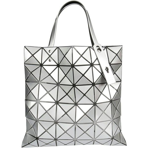 Bao Bao Issey Miyake Prism Tote ($415) ❤ liked on Polyvore featuring bags, handbags, tote bags, silver, silver handbags, tote purses, white purse, white tote bag and tote handbags