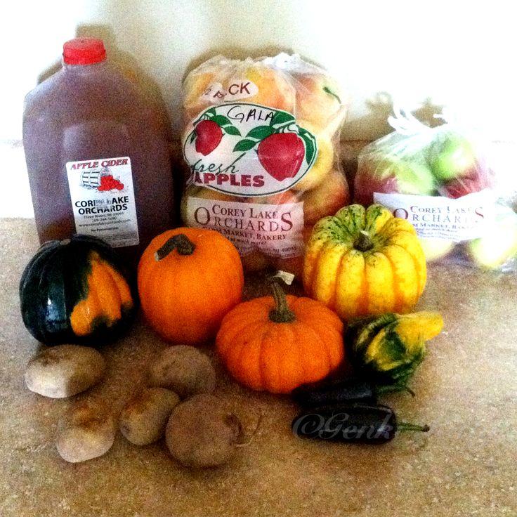 Corey Lake Orchard Farmers' Market grocery haul. #vegan #coreylakeorchard #michigan #october