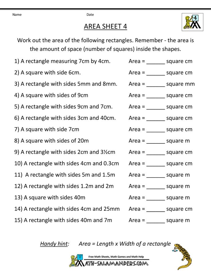 area worksheets area 4