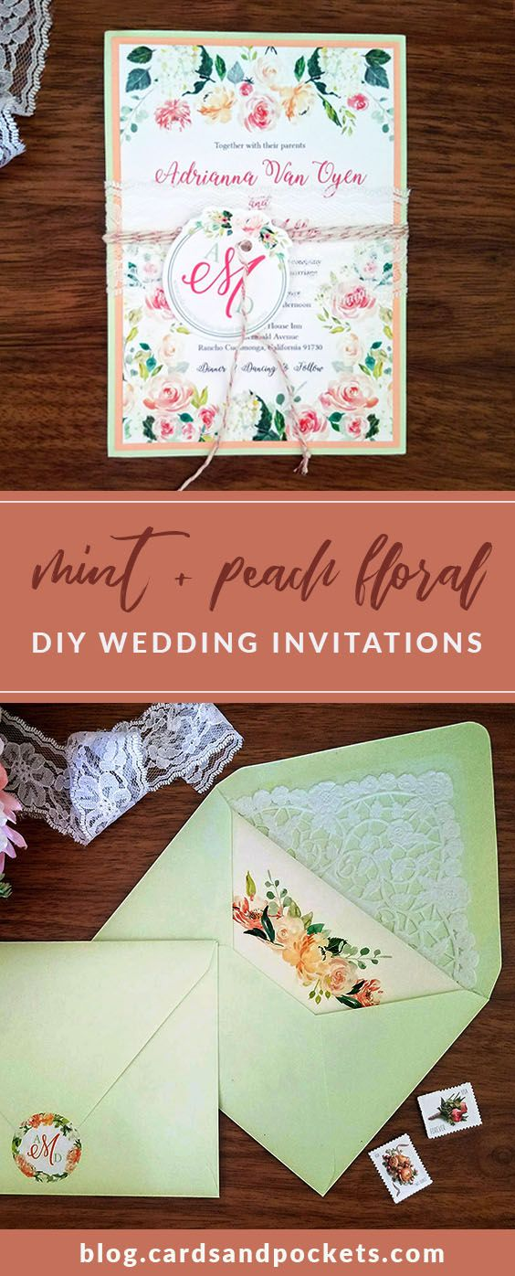 DIY wedding invitations with peach and mint color palette, beautiful florals, lace, and twine for a spring wedding. Click through to learn how to make them yourself!