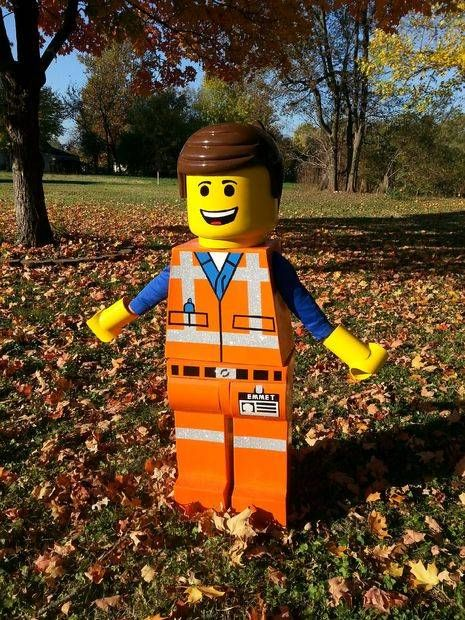 The Lego Movie: Emmett Costume made entirely of resin-covered cardboard. He even made an Instructable on it!