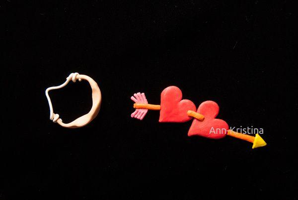 amor, rakkaus, sydän, sydämet, hearts, love, amorin nuoli, muovailuvaha, modelling clay figure