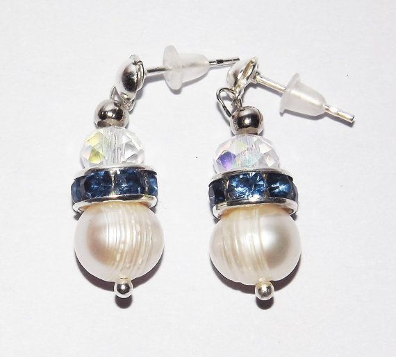 Something Blue Pearl Earrings   Free UK P&P   by KasumiCrafts