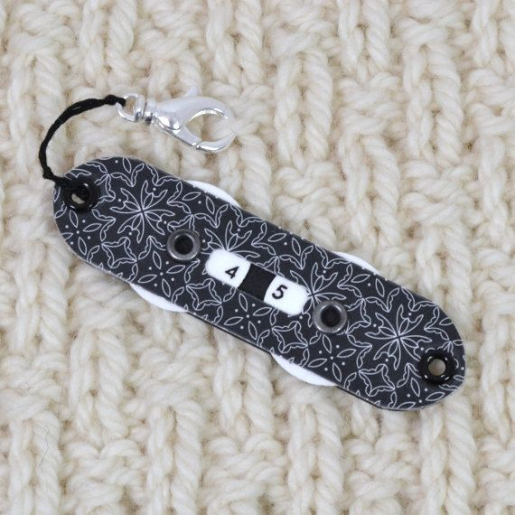Crochet Row Counter : Tag-Along Black Lacy Design Knitting Row Counter