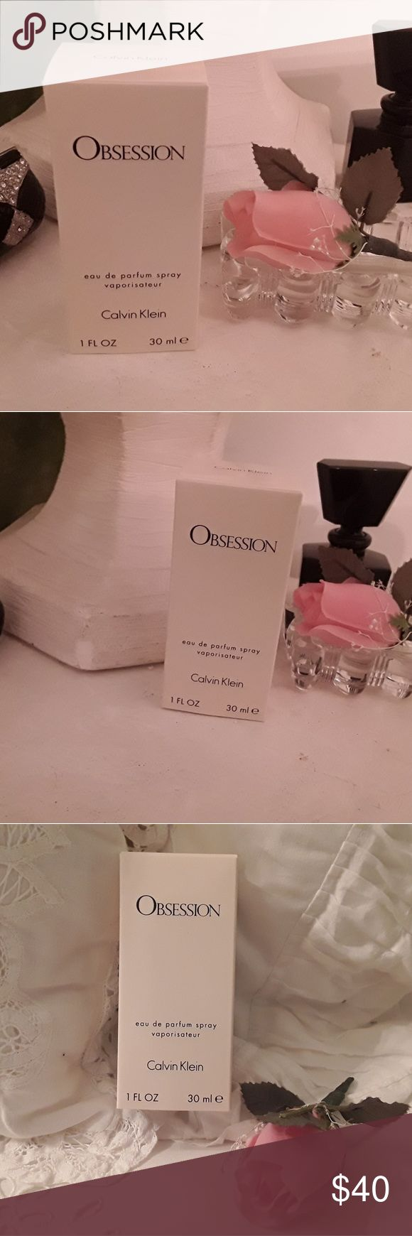 NEW CALVIN KLEIN OBSESSION PARFUM FOR WOMEN, 1FL. I HAVE FOR SALE A NEW NEVER OPENED BOTTLE OF CALVIN KLEIN OBSESSION FOR WOMEN.  IT IS  eau de parfume spray vaporisateur 1 FL. OZ. 30 ml e  THIS is a pure and very sensual fragrance created by the design house of Calvin KLEIN with the perfumer Jean guichard and released in 1985  IF you have any questions about this perfume please ask.  THANKS for shopping my closet. Peggy Calvin Klein Makeup