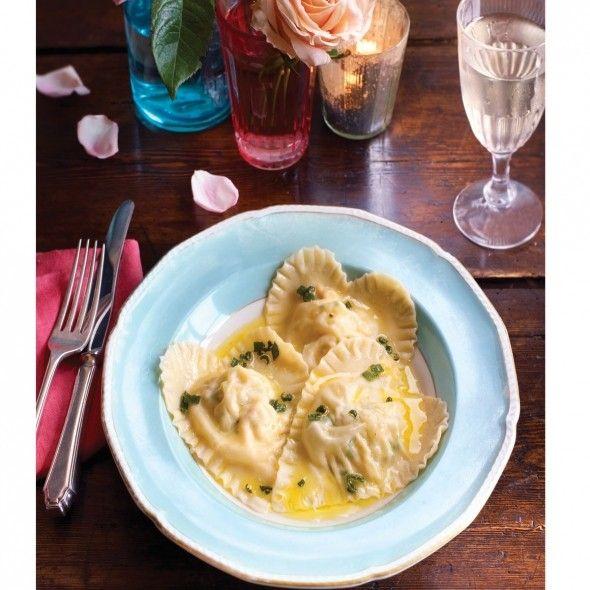 Crab ravioli with lemon sage butter