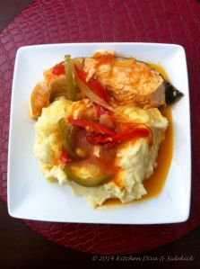 Bajan Creole Gravy using fresh salmon with Chive Mash