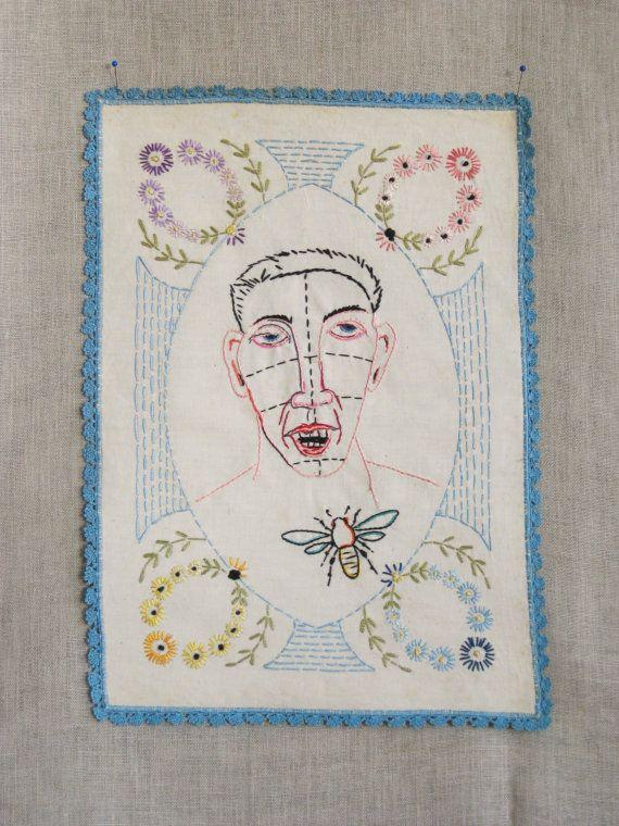Embroidery Male Portrait Hoop Art Embroidery Art by wilshepherd