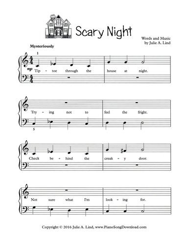 scary night halloween song for piano free printable - Online Halloween Music