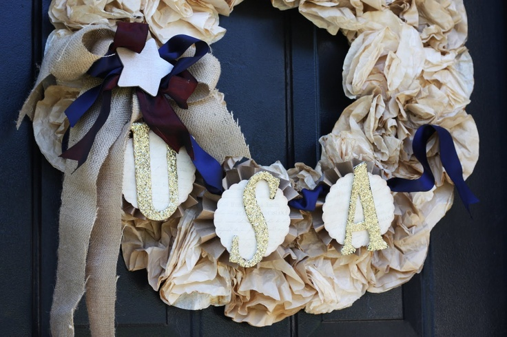 Get Festive with this Coffee Filter Fourth of July Wreath!: Memorial Filters Wreaths, Coffee Filters Wreaths, Crafts Ideas, Coffee Filter Wreath, July Wreaths, Fourth Of July, 4Th Of July, Filters Projects, Vintage Style