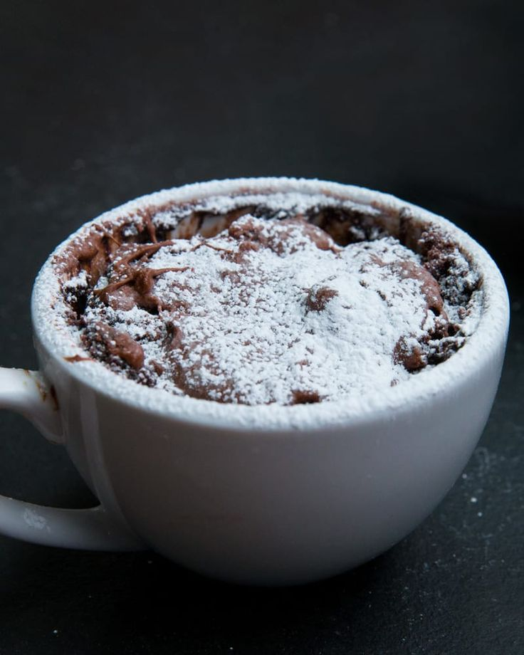 Servings: 1 INGREDIENTS4 tablespoons flour3 tablespoons sugar2 tablespoons cocoa powder½ teaspoon baking powder3 tablespoons milk1 tablespoon oil, such as vegetable or canola1 teaspoon vanilla extract1 tablespoon chocolate hazelnut spreadPREPARATION1. In a 12-ounce mug or larger, mix all ingredients until just combined. 2. Mix all the ingredients except the hazelnut spread. Once combined, spoon it on top of the batter.3. Microwave on high for 90 seconds to 2 minutes, watching to make sure it…