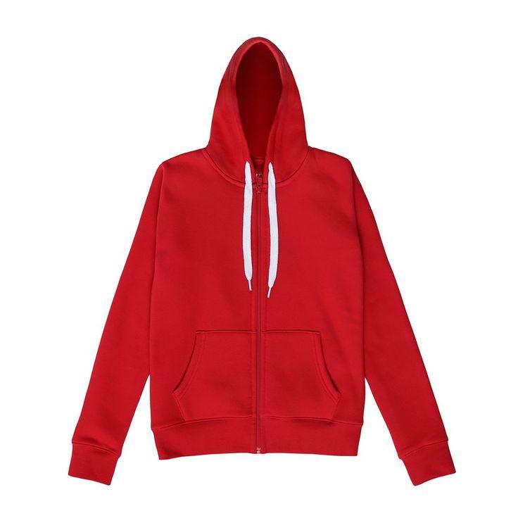 Bluza z kapturem BATTLE RED Klasyczna, damska bluza z kapturem. Z tyłu bluzy nadrukowane logo. Zapinana na wytrzymały suwak. Ozdobne wykończenie wnętrza karku. Regularny krój.