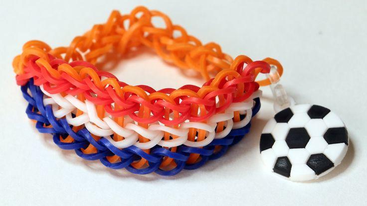 Rainbow loom Nederlands - Triple Single armband (WK VOETBAL) || Loom bands, tutorial, how to  #WorldCup