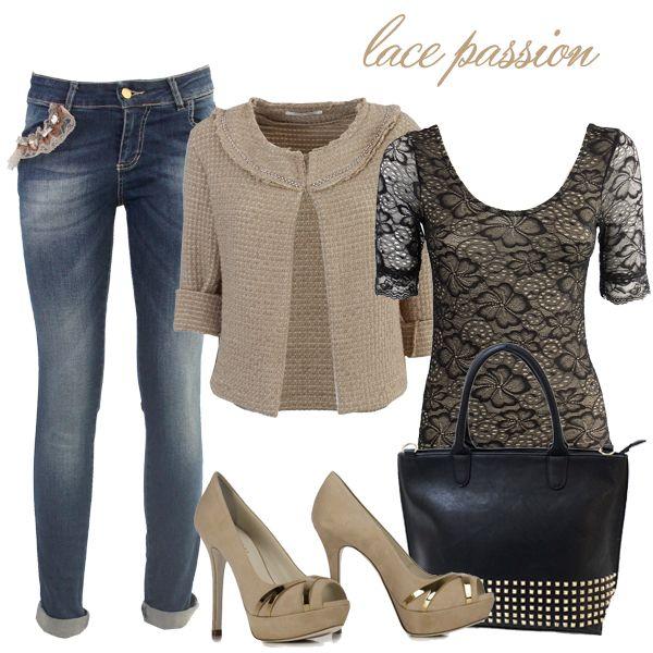 Sia di giorno che di sera, lasciati conquistare dall'eleganza del pizzo. Copia il look!  Jeans > http://bit.ly/1GIb8qu Body > http://bit.ly/1waIRAF Cardigan > http://bit.ly/1uWxamv Borsa > http://bit.ly/1m8B2wA