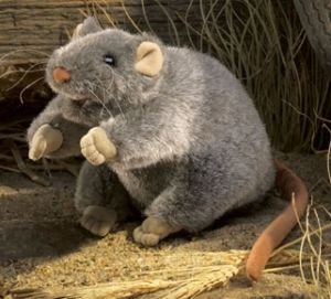 """Rat Hand Puppet 9"""" 13. maybe. more likeable but rather selfish and self serving character. ? poss 4-5 round"""