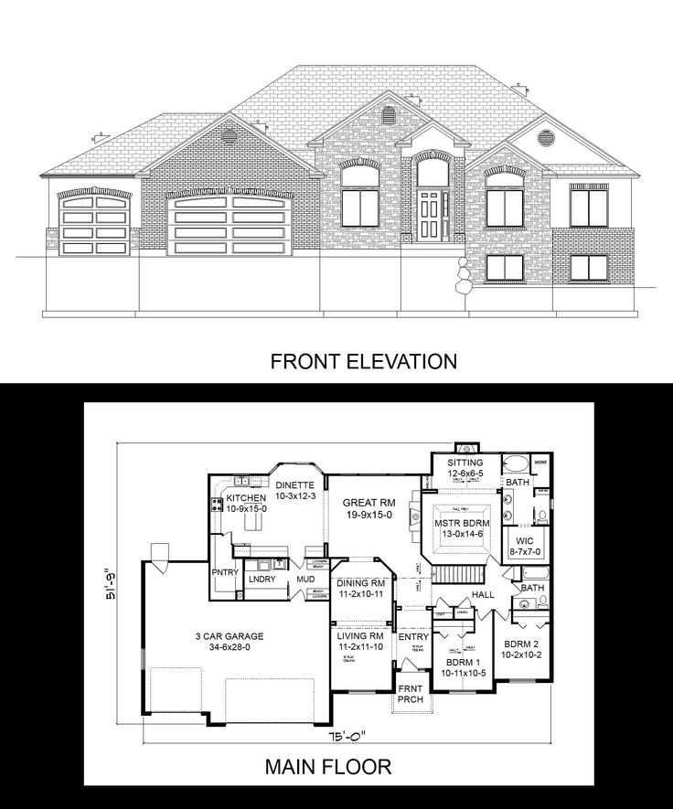 24x36 2 Car 2 Story Garage: 16 Best One Story House Plans Images On Pinterest