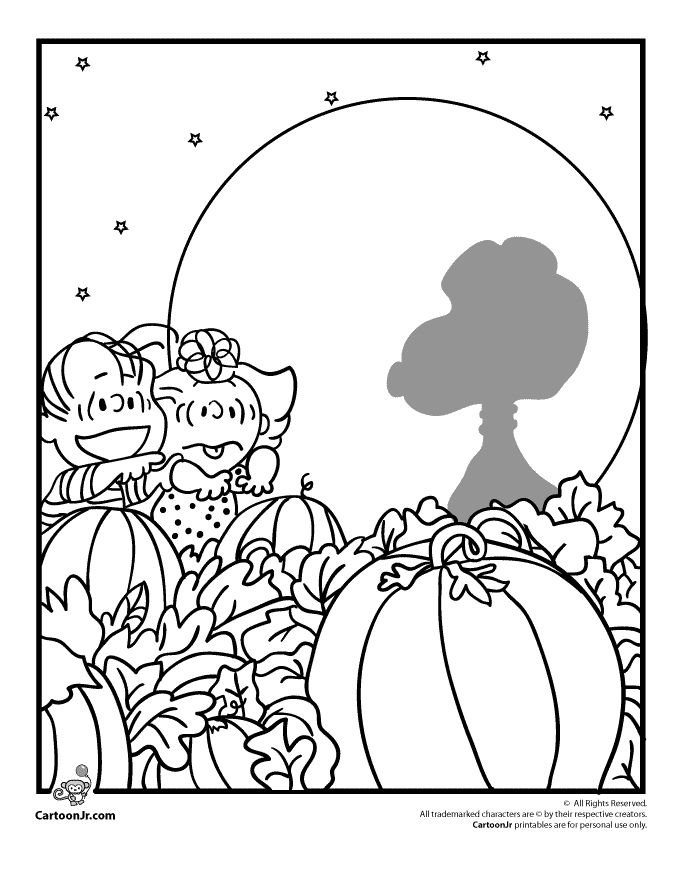 six fun and original charlie brown and the peanuts gang halloween coloring pages to print