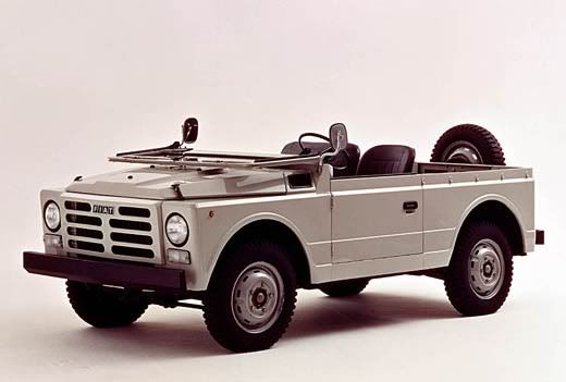 """Fiat 1107 """"Nuova Campagnola"""" (1974-87) The Fiat Campagnola is a light off-road vehicle produced by Fiat. Production started in 1951 and it was upgraded in 1974."""
