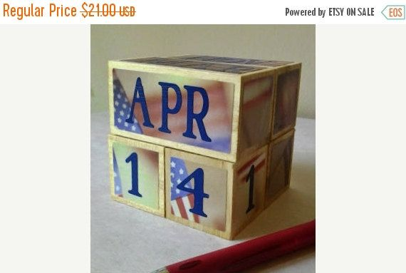 perpetual PATRIOTIC USA wooden calendar unique gift for teacher decorative decor for office cubicle classroom home military service