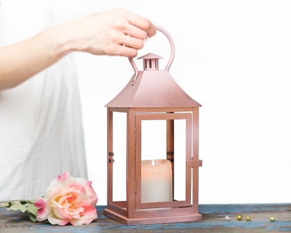 Holiday Gifts Rose Gold Outdoor Lantern Centerpiece, Pink Gold Candle Holder, Wedding Arrangement, Rose Gold Christmas Decorations SET OF 2