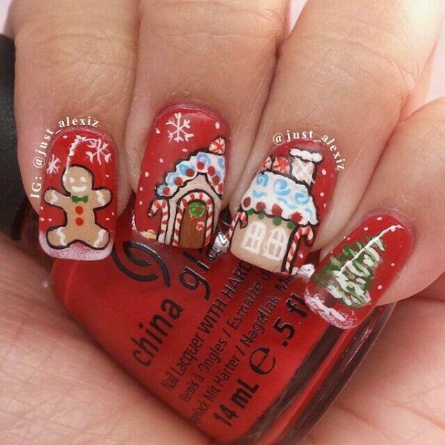 Gingerbread nailart #nailart #nails #winter #gingerbread