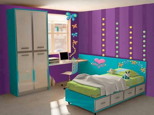 Girls Bedroom Purple And Blue beautiful girls bedroom ideas blue and purple contemporary - 3d