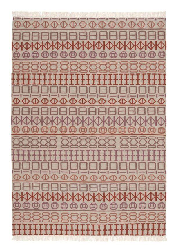 Teppich Naidu kilim / 170 x 240 cm - Wendeteppich, Weiß / Motive rosa und orange von Gan finden Sie bei Made In Design, Ihrem Online Shop für Designermöbel, Leuchten und Dekoration.