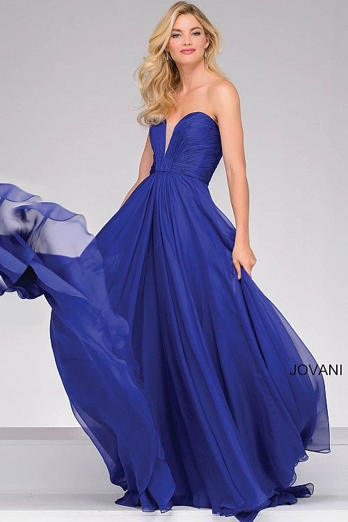 Purple Strapless Chiffon Prom Dress 45210