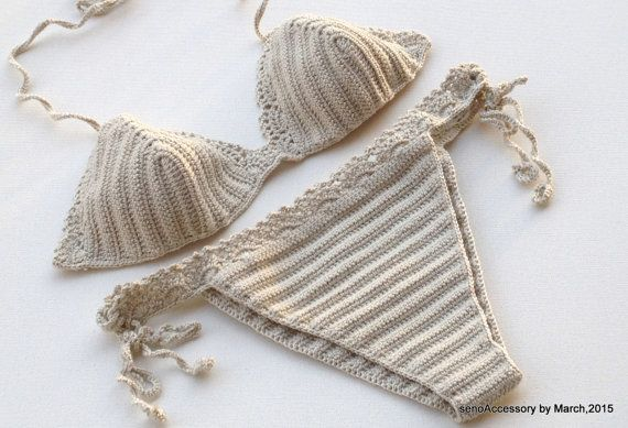 2016 Swimwear Crochet Bikini - Beige Bikini Set 2015 Swimwear Crochet Bikini Top Bikini Bottom Summer Fashion Tie Bikini Swimsuit EXPRESS SHIPPING senoaccessory Women Spring Summer senoaccessory 2016 Swimwear Trends Handmade Bikinis Crochet bikinis are a summertime tradition! sexy to fun and fabulous ;) perfect for beach and the summer fashion accessories ! – they all look fabulous! Flirty and feminine!  Perfect with shorts & jeans & skirt  %100 COTTON YARN !!!!!!! High quality Alize yarn…