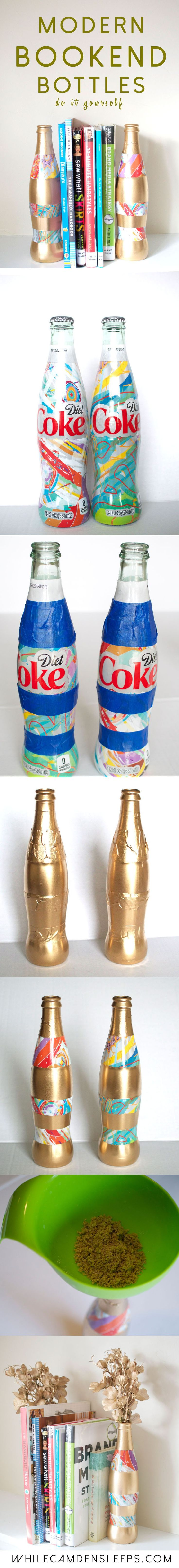 DIY Modern and Eclectic Bookend Bottles using NEW Diet Coke IT'S MINE bottles from @walmart #itsmymasterpiece #ad