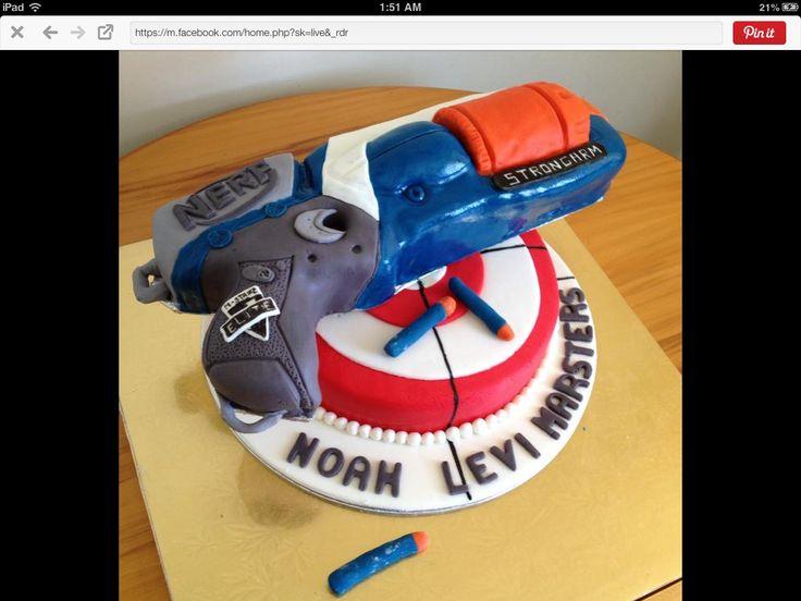 Haircutting ceremony nerf gun themed cake 2015