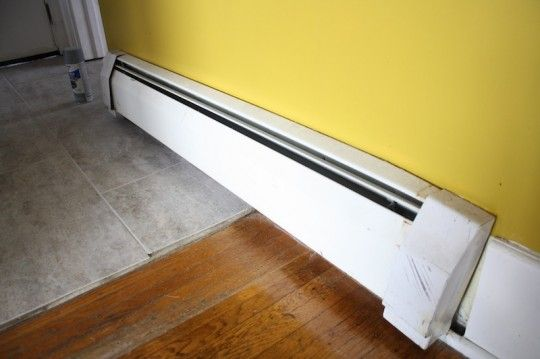 Spray Painting Heating Baseboards