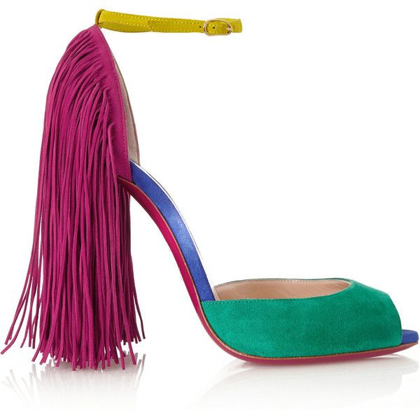 Christian Louboutin Otrot 120 fringed color-block suede sandals (7,745 CNY) ❤ liked on Polyvore featuring shoes, sandals, heels, christian louboutin shoes, strappy high heel sandals, fringe sandals, fringe heel sandals and suede shoes