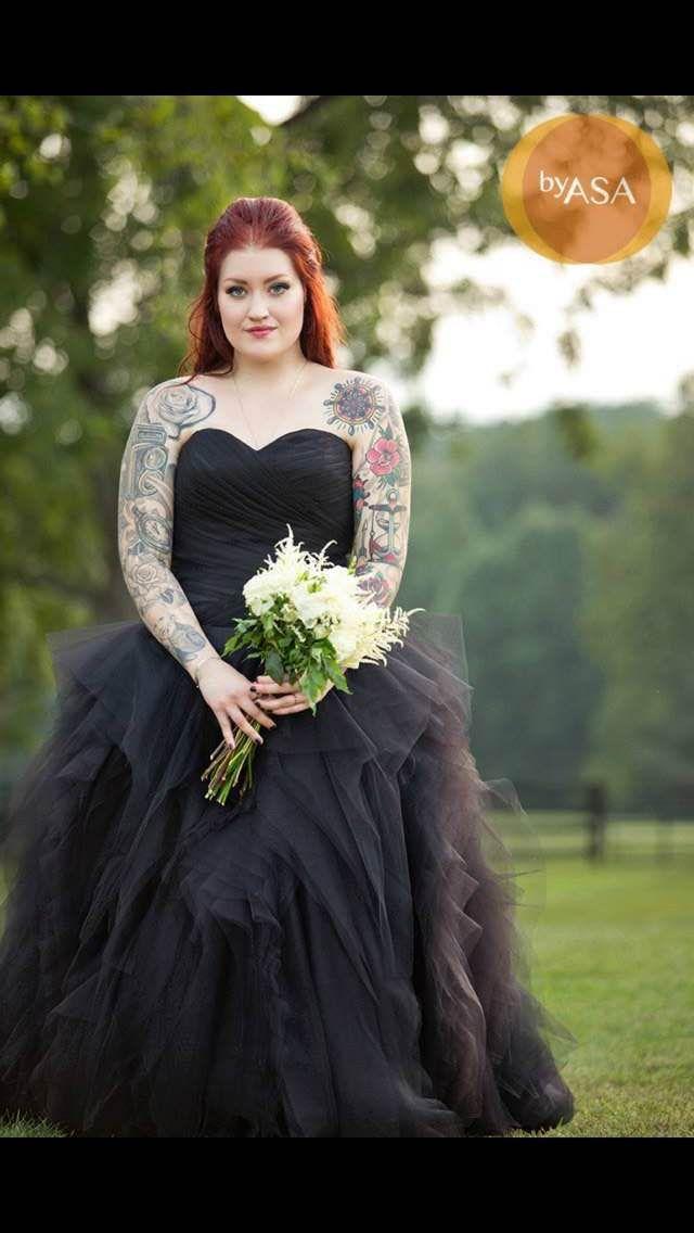 Wedding Dress Fantasy - Stunning Black Wedding Gown with Tulle, $1,355.00 (http://www.weddingdressfantasy.com/stunning-black-wedding-gown-with-tulle/)  #gothicweddingdress #blackweddingdress