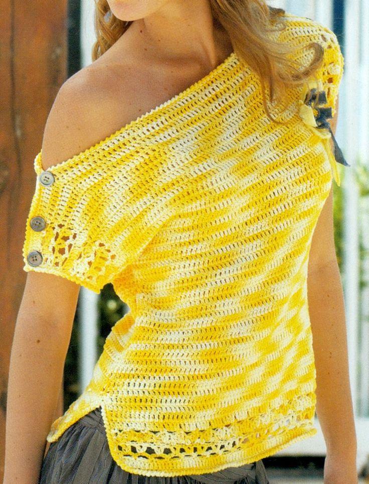 Patrón Para Tejer Blusa Amarilla a Crochet