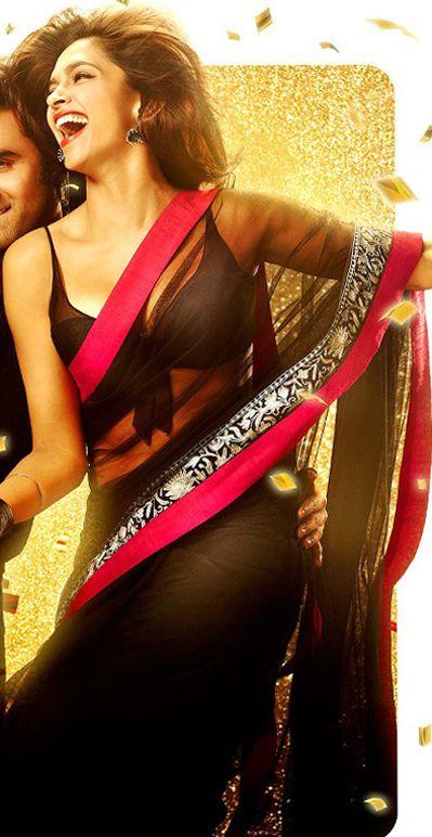 $77.78 Deepika Padukone in Black Net Party Wear Sari