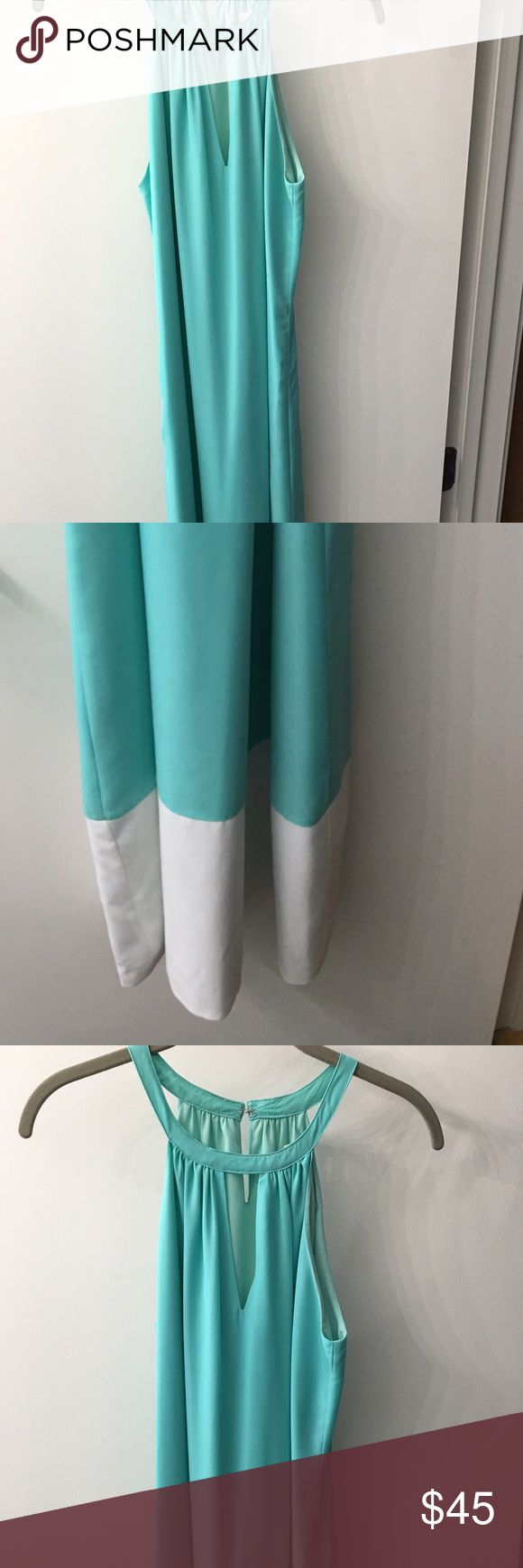 Turquoise Maxi Dress With White Band at Bottom Gorgeous color maxi JB by Julie Brown Dresses Maxi