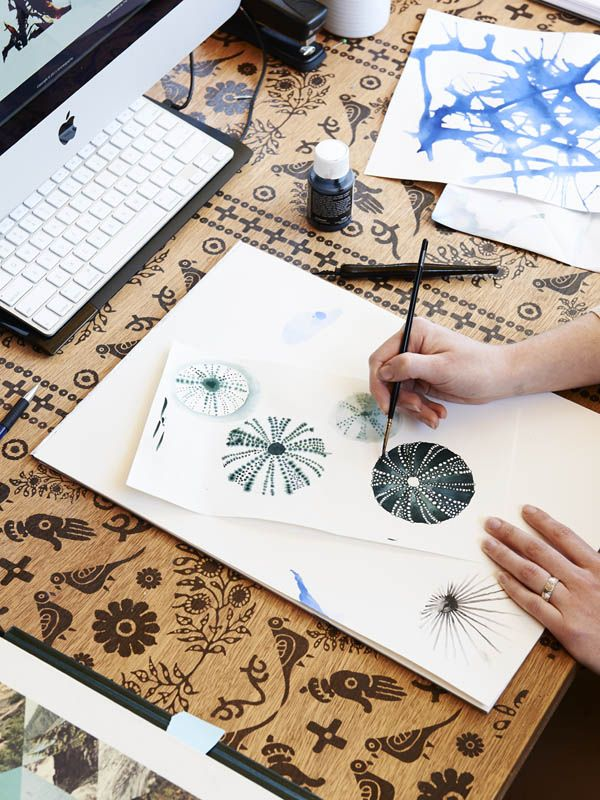 Sarah, Nancybird's textile designer working away at new designs in Emily Wright's Studio. via, The Design Files
