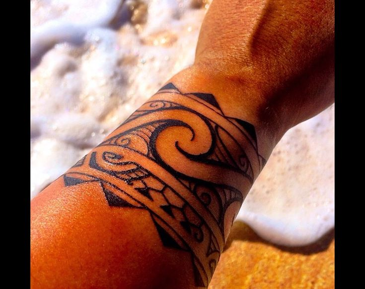 Polynesian arm band wave tattoo by Kaha Ki'i Arts