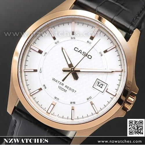 Casio Rose Gold Leather Strap Quartz Mens Watch MTP-1376RL-7A, MTP1376RL