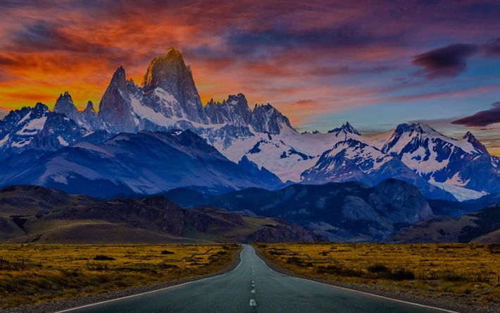 Download wallpapers Torres del Paine National Park, sunset, mountains, Patagonia, Chile