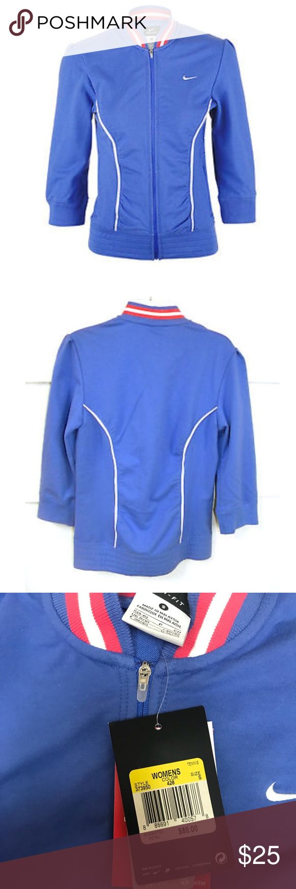 Nike Tennis Jacket Size Small Nike Break Point Tennis Jacket  3/4 Sleeve in Orion Blue with white and pink Detail  New with tags  Dri-fit fabric to wick sweat away and help keep you dry and comfortable Striped rib collar  Mesh piping with ruching at front and back  Size zip pockets Nike Jackets & Coats
