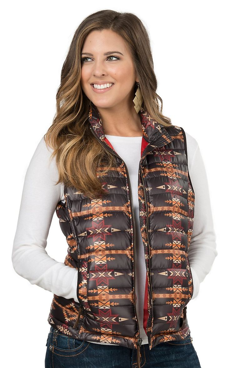 Ariat Pendleton Women's Chocolate Multicolor Aztec Ideal Down Vest | Cavender's