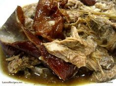 LECHON PAKSIW ~ Lechon or roast whole pig is delicious when hot off the roasting pit; any left-overs is usually made into paksiw na lechon which is so delicious, too! Ingredients leftover lechon 1 medium onion garlic cloves, minced banana blossoms (optional) 1 bay leaf soy sauce crushed peppercorns vinegar brown sugar fish sauce (patis), optional liver spread or liver sauce~~