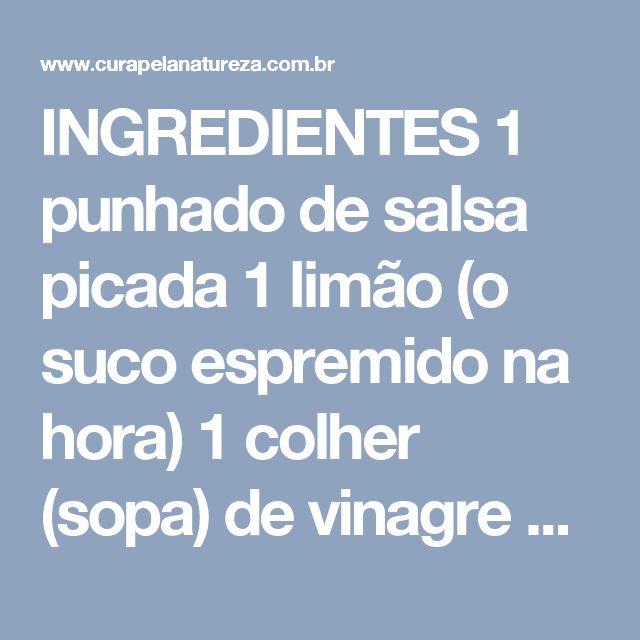 INGREDIENTES  1 punhado de salsa picada  1 limão (o suco espremido na hora)  1 colher (sopa) de vinagre de maçã  1 colher (sopa) de mel puro  1 colher (chá) de gengibre fresco ralado ou 1/2 colher (chá) de gengibre em pó  1/2 colher (chá) de canela em pó  500 ml de água filtrada  MODO DE PREPARO  Pique a salsa o máximo que puder.  Em seguida, esprema o suco de limão e, numa jarra, misture todos os ingredientes.  (Não é para liquidificar!)  Substitua seu jantar por esta bebida, mas faça…