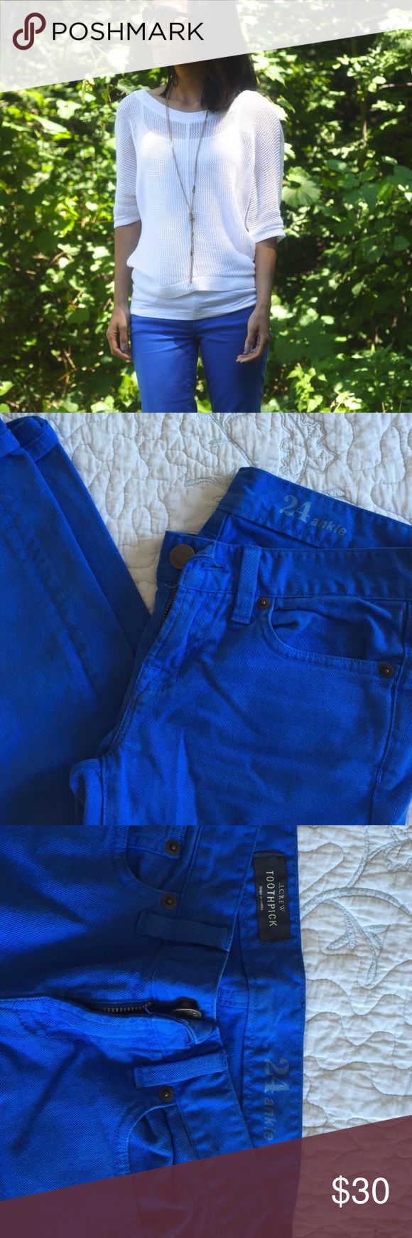 Jcrew toothpick ankle royal blue jeans Jcrew toothpick pants . The ankle length is perfect for petites! Beautiful bright blue color J. Crew Pants Ankle & Cropped