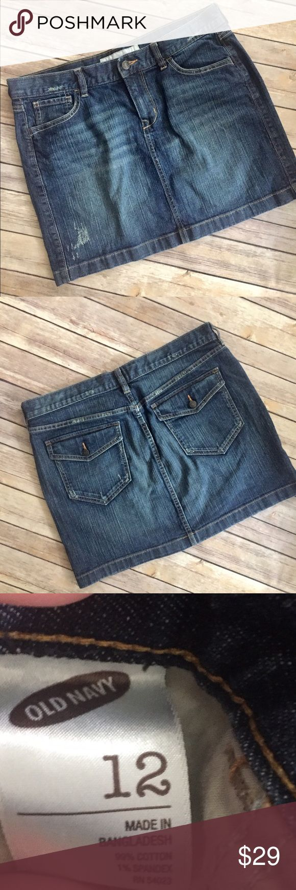 Size 12 Old Navy Distressed Jean Skirt Size 12 Old Navy Distressed Jean Skirt. In excellent condition. Every girl needs a cute jean skirt in their closet!!! Size 12, waist laying flat and length are pictured. No trades. Old Navy Skirts Mini