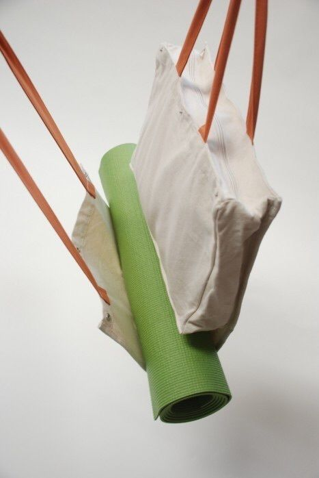 Cozy Orange natural cotton White canvas Yoga Bag, Yoga mat carrier Brand New